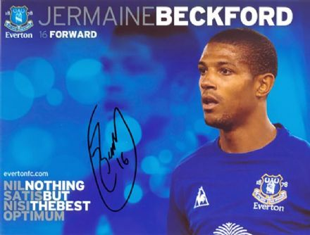 Jermaine Beckford, Everton, signed 10x8 inch photo.(2)